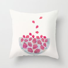 Magic Strawberries in the Bowl Throw Pillow