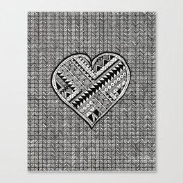 Modern, black and white, geometric shaped heart Canvas Print