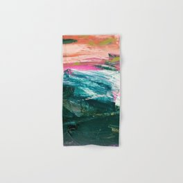 Meditate [4]: a vibrant, colorful abstract piece in bright green, teal, pink, orange, and white Hand & Bath Towel