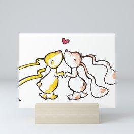 Kissing Bunnies Mini Art Print