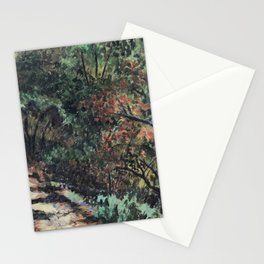 Lighted Path Through Green - Oil on canvas painting Stationery Cards