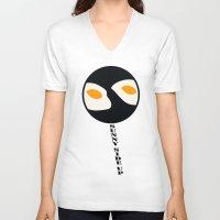eggs V-neck T-shirts featuring fried eggs by Gréta Thórsdóttir