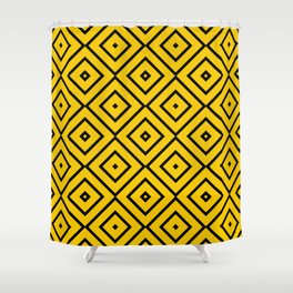 Pattern Abstrait Carreaux Jaune/Noir Shower Curtain
