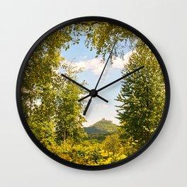 Trifels castle framed by green trees Wall Clock