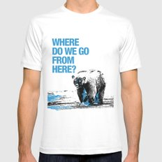 WHERE? MEDIUM White Mens Fitted Tee