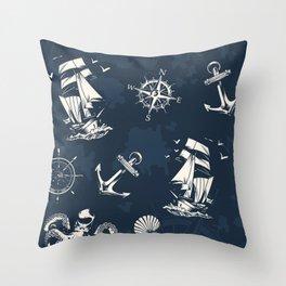 Ship Ocean Pattern Throw Pillow