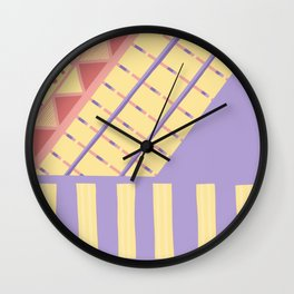 Lilac n Rose Geometry on Buttercream - from the Lilac Buttercup colour palette collection Wall Clock