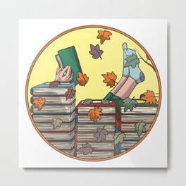 Reading books during autumn Metal Print