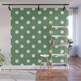 Green Pastel Polka Dots Wall Mural