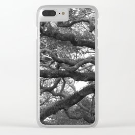 Live Oak Tree - black and white Clear iPhone Case