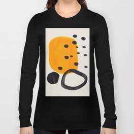 Unique Abstract Unique Mid century Modern Yellow Mustard Black Ring Dots Long Sleeve T-shirt