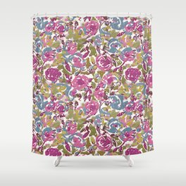 Painted Abstract Florals Shower Curtain