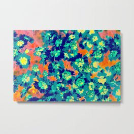 blooming blue flower with pink background Metal Print