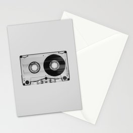 Vintage 80's Cassette - Black and White Retro Eighties Technology Art Print Wall Decor from 1980's Stationery Cards