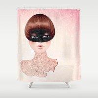 leah flores Shower Curtains featuring Flores by Pete K.