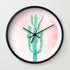 Desert Cactus Green with Rose Gold Sun Wall Clock