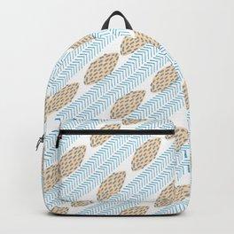 Blue brown watercolor brushstrokes leaves chevron Backpack