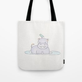 Watercolor Hippo Tote Bag