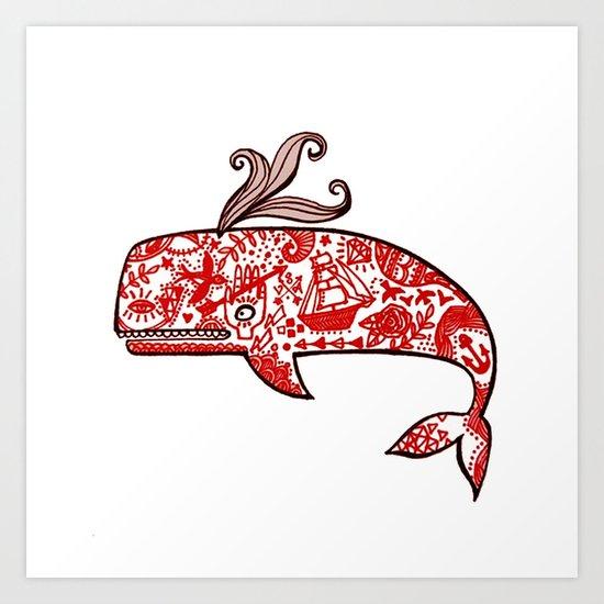 The tattooed whale in my dream Art Print