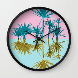 crazy palm trees Wall Clock