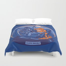 I Love Books and Cats Duvet Cover