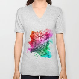 owl watercolor painting Unisex V-Neck