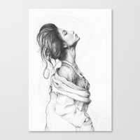 lady Canvas Prints featuring Pretty Lady Illustration by Olechka