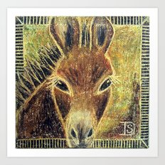 Desert Burro Oil Pastel Art Print