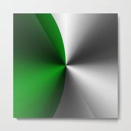 Green & Silver Faux Metallic Design Metal Print
