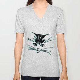 Aqua Kitty Cat Face Unisex V-Neck