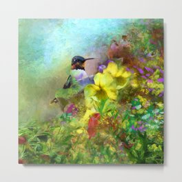 Hummingbird Bouquet Metal Print