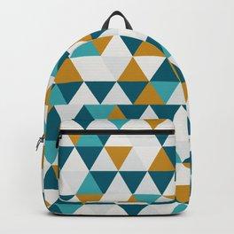 Cyan Orange Gray Triangles Backpack