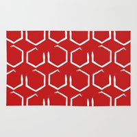 hexagon Area & Throw Rugs featuring Red Hexagon by C Designz