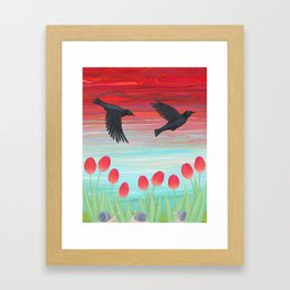crows, tulips, & snails Framed Art Print