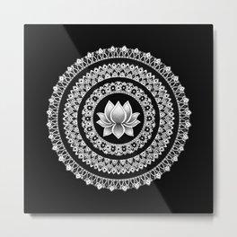 Black and White Lotus Mandala Metal Print