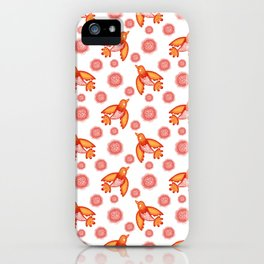 Little pretty orange swallows birds, dusty pink blooming roses seamless vintage retro white pattern iPhone Case