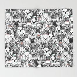 just dogs coral mint Throw Blanket