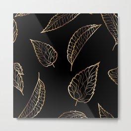 Black & Gold Feather Pattern Metal Print