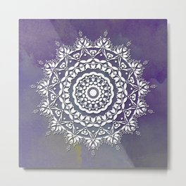 FLORAL WATERCOLOR VIOLET AND WHITE MANDALA  Metal Print