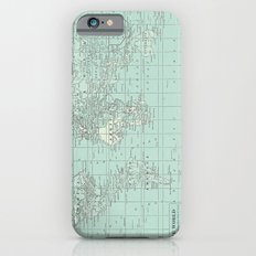 Vintage World Map in Soft Teal iPhone 6s Slim Case