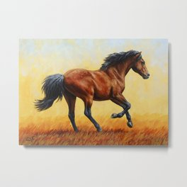 Running Bay Horse Metal Print