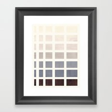 Grey Taupe Watercolor Gouache Geometric Square Matrix Pattern Framed Art Print