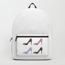 High heel shoes in black, serenity blue and bodacious pink Backpack