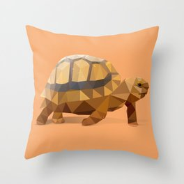 Low Poly Hermann's Tortoise Throw Pillow