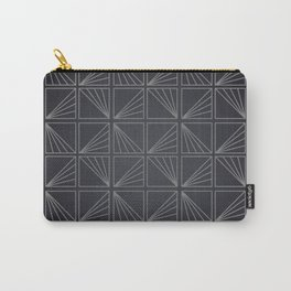 Grey Lined Square Geometric Patterns Carry-All Pouch
