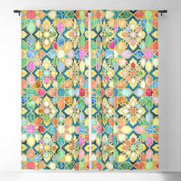 Gilded Moroccan Mosaic Tiles Blackout Curtain