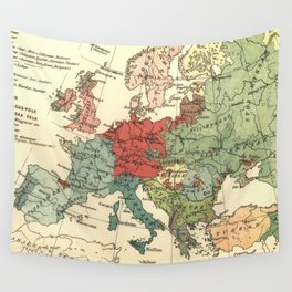 Vintage Linguistic Map of Europe (1907) Wall Tapestry