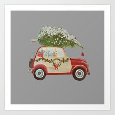 Vintage tree on red car gray background Art Print