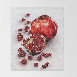 Red pomegranate watercolor art painting Throw Blanket