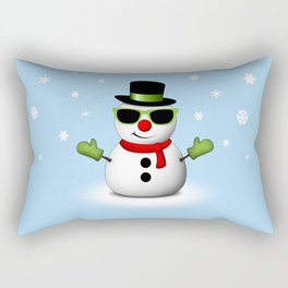 Cool Snowman with Shades and Adorable Smirk Rectangular Pillow